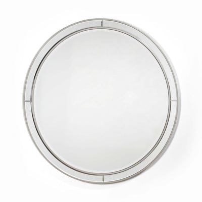 Design KNB Round Glass Mirror with a Silver MDF Frame
