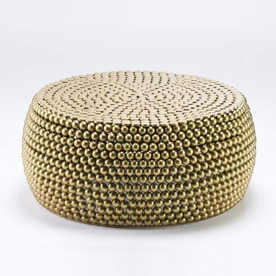 Design KNB Round Golden Metal Coffee Table