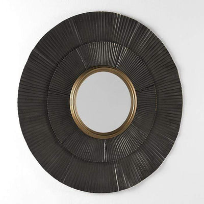Design KNB Round Mirror in Brown and Gold Metal