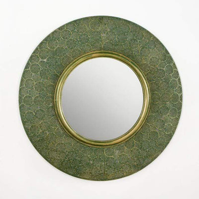 Design KNB Round Mirror in Green and Gold Metal