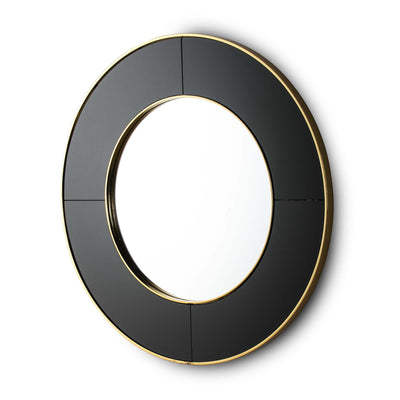 Design KNB Round Mirror with a Black Glass and Golden Metal Frame