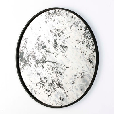 Design KNB Round Mirror with Grey Aged Glass and a Black Metal Frame