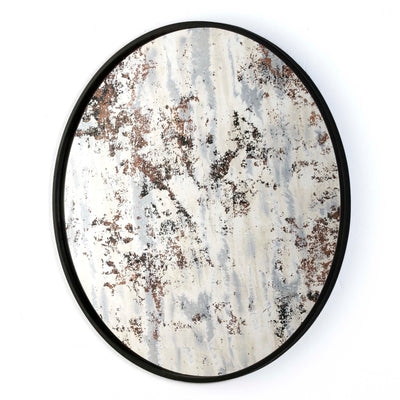Design KNB Round Mirror with Ocre Aged Glass and a Black Metal Frame