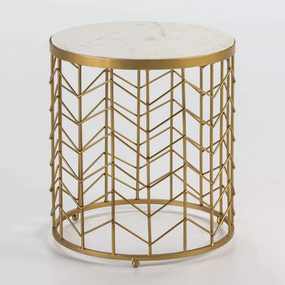 Design KNB Round Side Table with Golden Metal Base and a White Marble Top
