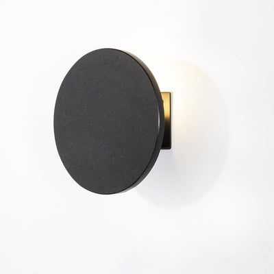 Design KNB Round Wall Light in Black Granite and Metal