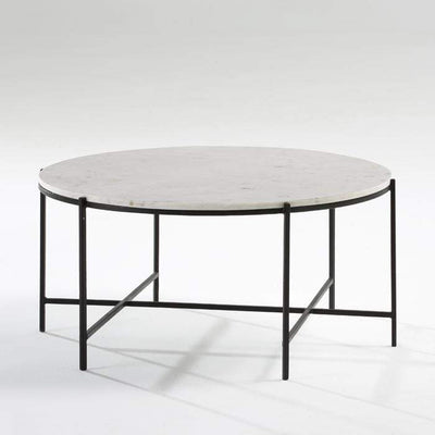 Design KNB Round White Marble Coffee Table