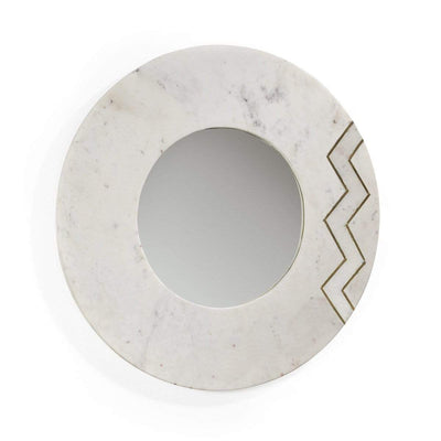 Design KNB Round White Marble Mirror with Golden Metal Detail