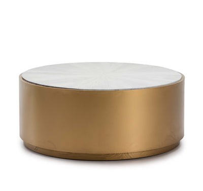 Design KNB Round Wood and Golden Coffee Table