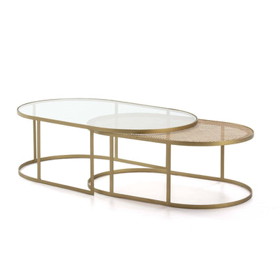 Design KNB Set of 2 Coffee Tables with Glass/Rattan and Golden Metal