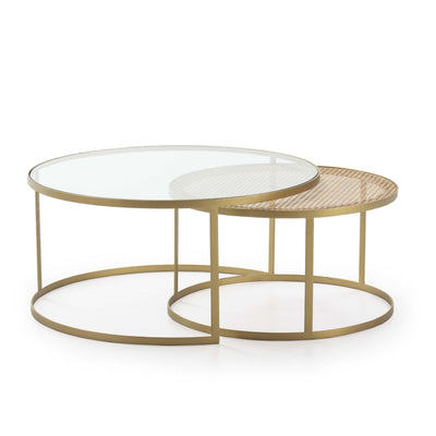 Design KNB Set of 2 Round Coffee Tables with Glass/Rattan and Golden Metal