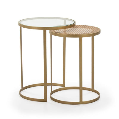 Design KNB Set of 2 Side Tables in Rattan/Glass and a Gold Metal Frame