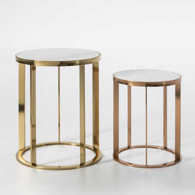 Design KNB Set of 2 Side Tables in White Marble and Gold Metal