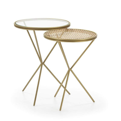 Design KNB Set of Two Rattan/ Glass and Golden Metal Side table with Tripod legs