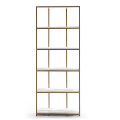 Design KNB Shelf made of Golden Metal and White Wooden Shelving