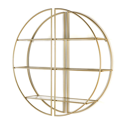 Design KNB Shelf Shelf in Glass and Golden Metal