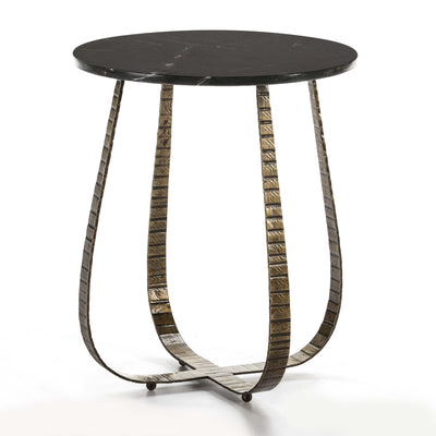 Design KNB Side Table in Black Marble and Golden Metal