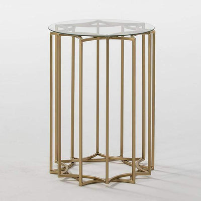 Design KNB Side Table in Glass and Golden Metal