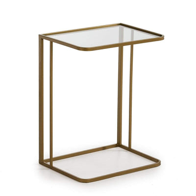 Design KNB Side Table in Golden Metal and a Glass Top
