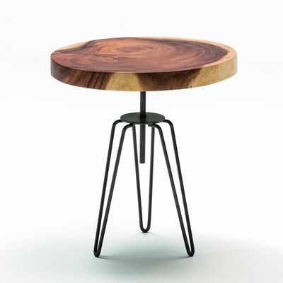 Design KNB Side Table in Natural Wood and a Metal Base