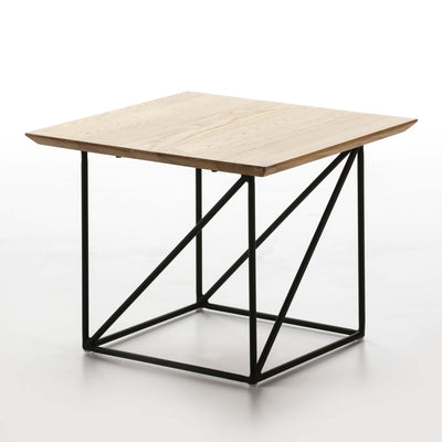 Design KNB Side Table in Natural Wood with a Black Metal Base