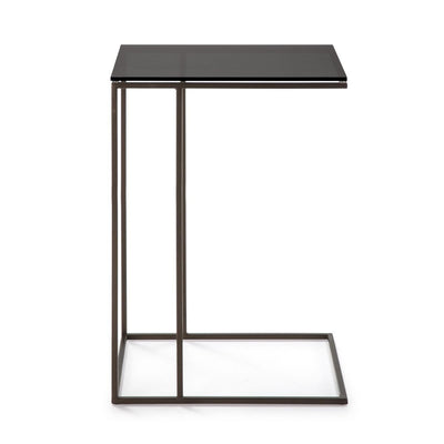 Design KNB Side Table in Smoke Glass with a Golden Metal Base