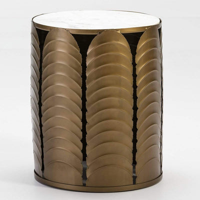 Design KNB Side Table in White Marble and Golden Metal Frame