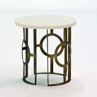 Design KNB Side Table in White Marble with a Bronze Metal Base