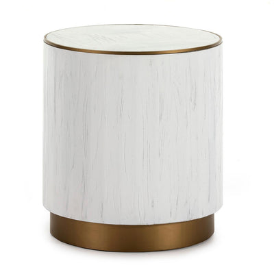 Design KNB Side Table in White Wood with Golden Metal Detail