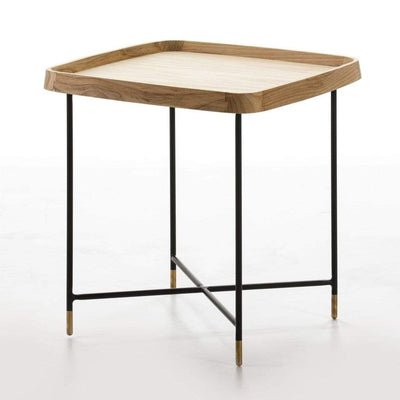 Design KNB Side Table in Wood with Black/Golden Metal Legs