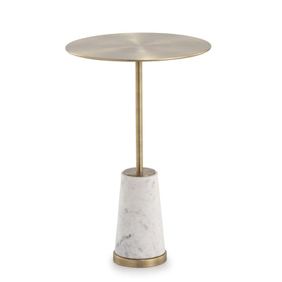 Design KNB Side Table made of White Marble and Golden Metal