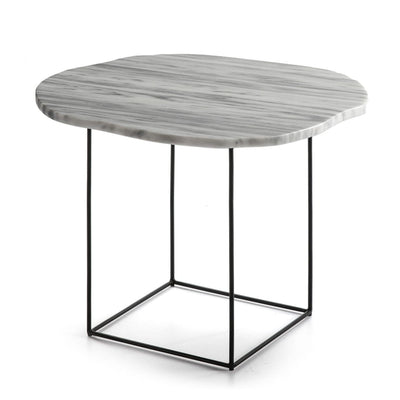 Design KNB side table Side Table with a White Marble Top and Simple Black Metal Legs