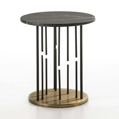 Design KNB Side Table with a Black Marble Black Top and Golden Metal Legs