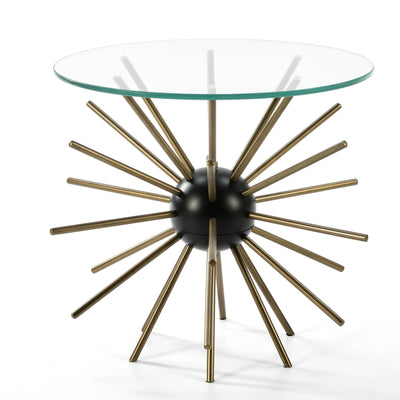Design KNB Side Table with a Glass Plate and a Gold and Black Metal Base