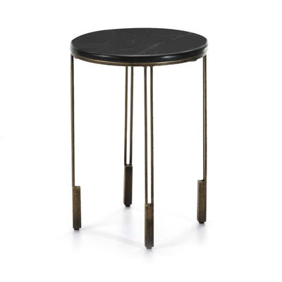 Design KNB Side Table with a Golden Metal Base and a Black Stone Top