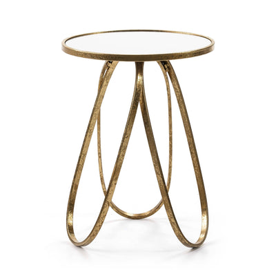 Design KNB Side Table with a Mirror and Golden Metal