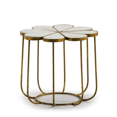 Design KNB Side Table with a White Marble Flower Shaped Top and a Golden Metal Base