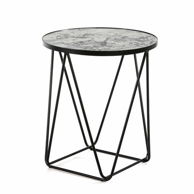 Design KNB Side Table with Aged Mirror Top and a Black Metal Surround