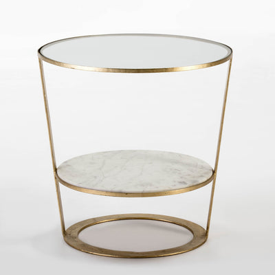 Design KNB Side Table with Glass and white Marble shelves and Golden Metal surround