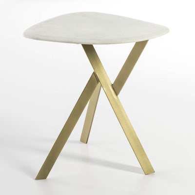 Design KNB Side Table with Golden Metal Legs and a White Marble Top