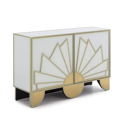 Design KNB Sideboard in White Glass and Golden Metal