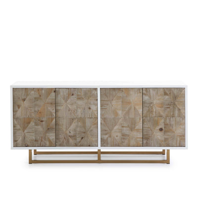 Design KNB Sideboard in White/Natural Wood with Golden Metal Legs
