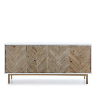 Design KNB Sideboard in White & Natural Wood with Golden Metal Legs