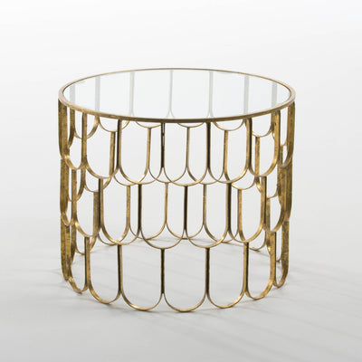 Design KNB Small Round Coffee Table in Glass and Golden Metal