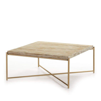 Design KNB Square Coffee Table in White Washed Wood with Golden Metal Legs