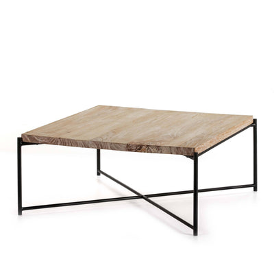 Design KNB Square White Washed Wooden Coffee Table