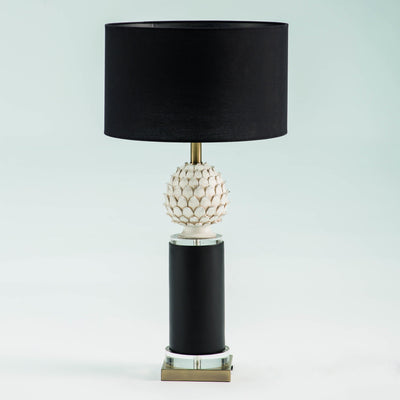 Design KNB Table Lamp in Black and White Ceramic and Golden Metal without a Lampshade