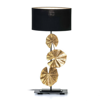 Design KNB Table Light in Gold and Black Metal with a Black Lampshade