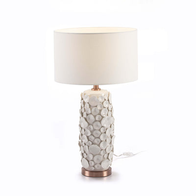 Design KNB Table Light in White Ceramic and Copper Metal without a Lampshade