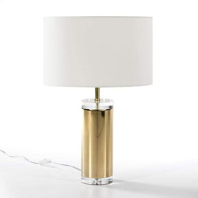 Design KNB Table Light with an Acrylic Clear Base surrounded by Golden Metal