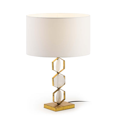Design KNB Table Light with Golden Metal and White Stone base